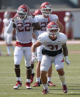 NWA Democrat-Gazette/ANDY SHUPE<br /> Arkansas linebacker Grant Morgan (31) runs through a drill Tuesday, Aug. 13, 2019, during practice at the university practice facility in Fayetteville. Visit nwadg.com/photos to see photographs from the practice.
