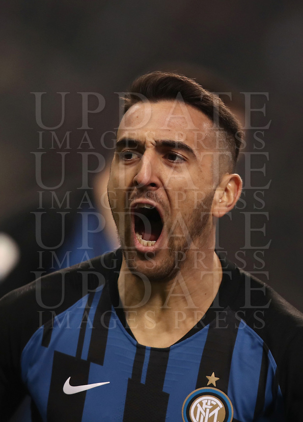 Calcio, Serie A: AC Milan - Inter Milan, Giuseppe Meazza (San Siro) stadium, Milan on 17 March 2019.  <br /> Inter's Matias Vecino celebrates after scoring during the Italian Serie A football match between Milan and Inter Milan at Giuseppe Meazza stadium, on 17 March 2019. <br /> UPDATE IMAGES PRESS/Isabella Bonotto