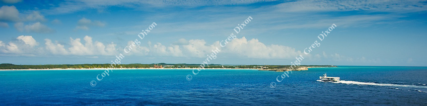 A tour boat approaches Half Moon Cay, Bahamas, on Feb. 10, 2012
