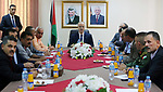 Palestinian Prime Minister Rami Hamdallah chairs a meeting with security chiefs, in the West Bank city of Jenin on Aug. 04, 2018. Photo by Prime Minister Office