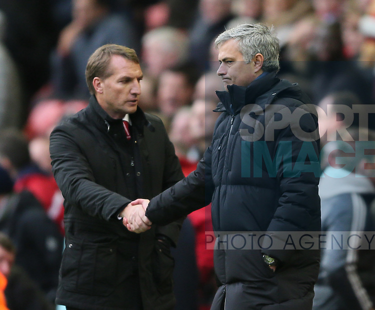 Brendan Rodgers manager of Liverpool shakes hands with Jose Mourinho manager of Chelsea on the final whistle  - Barclays Premier League - Liverpool vs Chelsea - Anfield Stadium - Liverpool - England - 8th November 2014  - Picture Simon Bellis/Sportimage