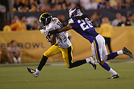 Canton, Ohio - August 9, 2015: C.J. Goodwin, #18 of the Pittsburgh Steelers, tries to evade the tackle of Trae Waynes, #26 of the Minnesota Vikings, as he runs the ball in the Hall of Fame game in Canton, Ohio, August 9, 2015  (Photo by Don Baxter/Media Images International)