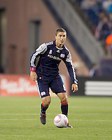 New England Revolution midfielder Chris Tierney (8) brings the ball forward. Real Salt Lake defeated the New England Revolution, 2-1, at Gillette Stadium on October 2, 2010.