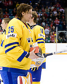 Jacob Markstrom (Sweden - 25) - Team Sweden celebrates after defeating Team Switzerland 11-4 to win the bronze medal in the 2010 World Juniors tournament on Tuesday, January 5, 2010, at the Credit Union Centre in Saskatoon, Saskatchewan.