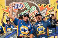 Jul. 28, 2013; Sonoma, CA, USA: NHRA funny car driver Ron Capps (right) celebrates with crew chief Rahn Tobler after winning the Sonoma Nationals at Sonoma Raceway. Mandatory Credit: Mark J. Rebilas-