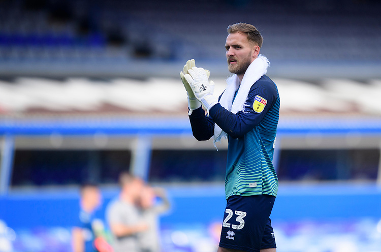 Blackpool's Jak Alnwick applauds the fans at the final whistle<br /> <br /> Photographer Chris Vaughan/CameraSport<br /> <br /> The EFL Sky Bet League One - Coventry City v Blackpool - Saturday 7th September 2019 - St Andrew's - Birmingham<br /> <br /> World Copyright © 2019 CameraSport. All rights reserved. 43 Linden Ave. Countesthorpe. Leicester. England. LE8 5PG - Tel: +44 (0) 116 277 4147 - admin@camerasport.com - www.camerasport.com