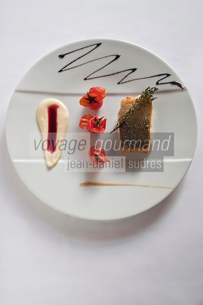 Europe/France/Pays de la Loire/44/Loire-Atlantique/Nantes: Pavé de bar de ligne roti aux tomates confites, jus d'arètes au vin rouge, recette de David Garrec  du restaurant l'Océanide