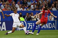 20190702 - LYON , FRANCE : American Rose Lavelle pictured in a duel with English Nikita Parris during the female soccer game between England  - the Lionesses - and The United States of America  – USA - , a knock out game in the semi finals of the FIFA Women's  World Championship in France 2019, Tuesday 2 nd July 2019 at the Stade de Lyon  Stadium in Lyon  , France .  PHOTO SPORTPIX.BE | DAVID CATRY