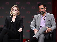 """BEVERLY HILLS - AUGUST 6: (L-R) Cast Members Sarah Bolger and Danny Pino onstage during the """"Mayans M.C."""" panel at the FX Networks portion of the Summer 2019 TCA Press Tour at the Beverly Hilton on August 6, 2019 in Los Angeles, California. (Photo by Frank Micelotta/FX Networks/PictureGroup)"""