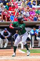 Great Lakes Loons outfielder Starling Heredia (22) at bat during a Midwest League game against the Wisconsin Timber Rattlers on May 12, 2018 at Fox Cities Stadium in Appleton, Wisconsin. Wisconsin defeated Great Lakes 3-1. (Brad Krause/Four Seam Images)