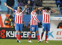 Atletico de Madrid's Filipe Luis celebrates during King's Cup match. December 13, 2012. (ALTERPHOTOS/Alvaro Hernandez) /NortePhoto