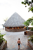 FRENCH POLYNESIA. Tahiti. An outdoor bar by the pool at the Manava Suite Resort Tahiti.