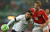 VIENNA, Austria - November 19, 2013: Alejandro Bedoya of USA and Martin Hinteregger of Austria during the international friendly match between Austria and the USA at Ernst-Happel-Stadium.
