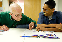 Volunteer Duncan Holt (cq, left, 972.233.0799) helps  Miodonio Vélasquez (cq) during an ESL class to learn English as part of the the Nueva Vida Program at Spring Valley United Methodist Church in North Dallas, Texas, Tuesday, March 25, 2008. The class, which runs for 18 weeks, is entirely taught by volunteers...PHOTO/ MATT NAGER