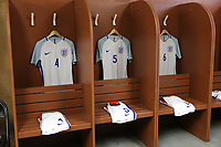 England shirts in the dressing room pre-match. Captain's armband alongside shirt No 5 of Joe Worrall during England Under-18 vs Scotland Under-20, Toulon Tournament Semi-Final Football at Stade Parsemain on 8th June 2017