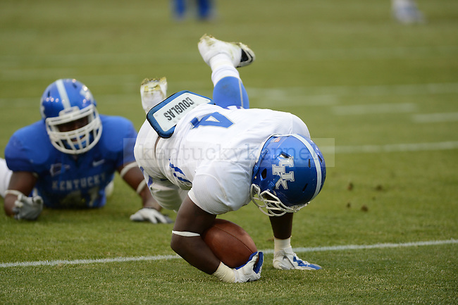 TB Raymond Sanders dives for a touchdown during the University of Kentucky spring football scrimmage at Commonwealth Stadium in Lexington, Ky., on 4/21/12.  Photo by Mike Weaver | Staff