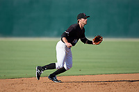 Kannapolis Intimidators shortstop Grant Massey (28) on defense against the Hagerstown Suns at Kannapolis Intimidators Stadium on June 15, 2017 in Kannapolis, North Carolina.  The Intimidators walked-off the Suns 5-4 in game one of a double-header.  (Brian Westerholt/Four Seam Images)