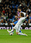 Real Madrid´s Luka Modric and Levante UD´s  during 2014-15 La Liga match between Real Madrid and Levante UD at Santiago Bernabeu stadium in Madrid, Spain. March 15, 2015. (ALTERPHOTOS/Luis Fernandez)