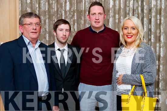 Mike Finn Senior, Mike Finn Junior, Jonathan ODonnell and Melissa O'Callaghan, enjoying the Cordal GAA social at Ballygarry House Hotel & Spa, Tralee, on Saturday night last.