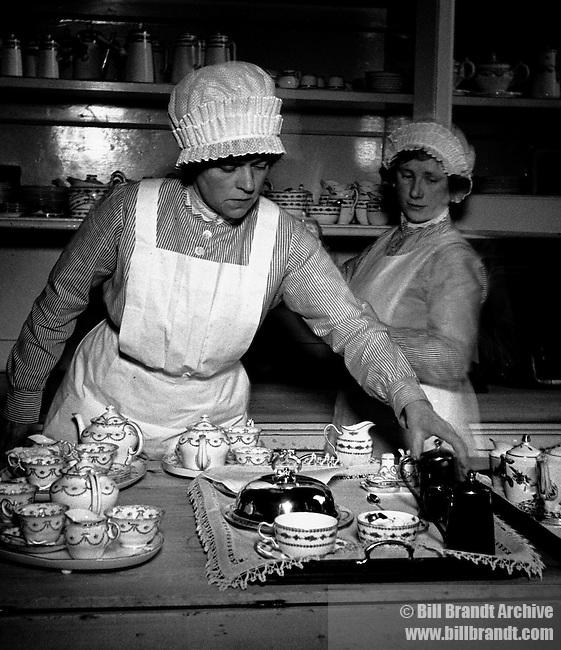 Parlourmaids prepare tea