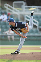 Asheville Tourists starting pitcher Ryan Castellani (6) follows through on his delivery against the Kannapolis Intimidators at Intimidators Stadium on June 25, 2015 in Kannapolis, North Carolina.  The Intimidators defeated the Tourists 9-8.  (Brian Westerholt/Four Seam Images)