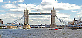 London, GBR - August 7, 2005 -- View of the Tower Bridge in London, Great Britain, on August 7, 2005 as seen from a ferry in the middle of the Thames River.  The Tower Bridge is often mistaken for London Bridge, which is further up the river..Credit: Ron Sachs / CNP