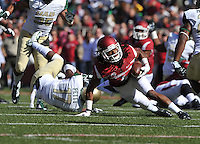 NWA Media/Michael Woods --10/25/2014-- w @NWAMICHAELW...University of Arkansas receiver Keon Hatcher tries to get a few more yards after being tripped up  in the 1st quarter of Saturday's game at Razorback Stadium in Fayetteville.