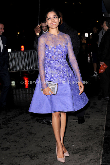 WWW.ACEPIXS.COM<br /> April 7, 2015 New York City<br /> <br /> Freida Pinto attends the special screening of Relativity Studio's 'Desert Dancer' at Museum of Modern Art on April 7, 2015 in New York City.<br /> <br /> Please byline: Kristin Callahan/AcePictures<br /> <br /> ACEPIXS.COM<br /> <br /> Tel: (646) 769 0430<br /> e-mail: info@acepixs.com<br /> web: http://www.acepixs.com