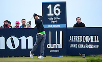 Thorbjorn Olesen of Denmark tees off  during the Final Round of the 2015 Alfred Dunhill Links Championship at the Old Course, St Andrews, in Fife, Scotland on 4/10/15.<br /> Picture: Richard Martin-Roberts | Golffile