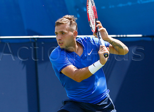 15.06.2016. Queens Club, London, England. Aegon Queens Tennis Championships Day Three. Daniel Evans (GBR) hits a backhand  in his 1st round match against Paul-Henri Mathieu (FRA)
