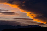 Sunset light on clouds over the Eastern Sierra, California