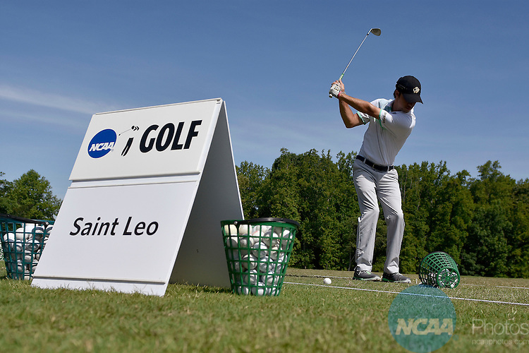 20 MAY 2015:  A Saint Leo player warms up before the Division II Men's Individual Golf Championship held at the Rock Barn Golf & Spa in Conover, NC. Grant Halverson/NCAA Photos