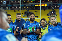 Blues players celebrate winning the Super Rugby match between the Hurricanes and Blues at Sky Stadium in Wellington, New Zealand on Saturday, 7 March 2020. Photo: Dave Lintott / lintottphoto.co.nz