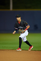 Reading Fightin Phils second baseman Jose Antequera (17) during an Eastern League game against the Trenton Thunder on August 16, 2019 at FirstEnergy Stadium in Reading, Pennsylvania.  Trenton defeated Reading 7-5.  (Mike Janes/Four Seam Images)