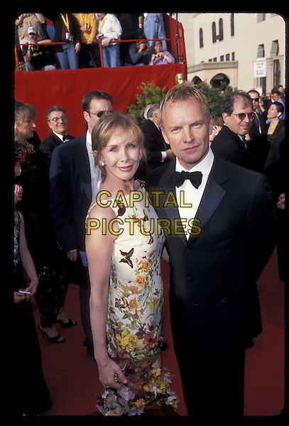 TRUDI STYLER & STING.Ref: 10754.floral print, tuxedo, half length, half-length.*RAW SCAN- photo will be adjusted for publication*.www.capitalpictures.com.sales@capitalpictures.com.©Capital Pictures