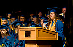 WINSTED, CT-062317JS14- Gilbert Valedictorian, Rachel Audi,  gives her address during graduation ceremonies Friday at the Gilbert School in Winsted. <br /> Jim Shannon Republican-American
