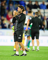 Lincoln City manager Danny Cowley applauds the fans at the final whistle<br /> <br /> Photographer Andrew Vaughan/CameraSport<br /> <br /> The Carabao Cup First Round - Huddersfield Town v Lincoln City - Tuesday 13th August 2019 - John Smith's Stadium - Huddersfield<br />  <br /> World Copyright © 2019 CameraSport. All rights reserved. 43 Linden Ave. Countesthorpe. Leicester. England. LE8 5PG - Tel: +44 (0) 116 277 4147 - admin@camerasport.com - www.camerasport.com