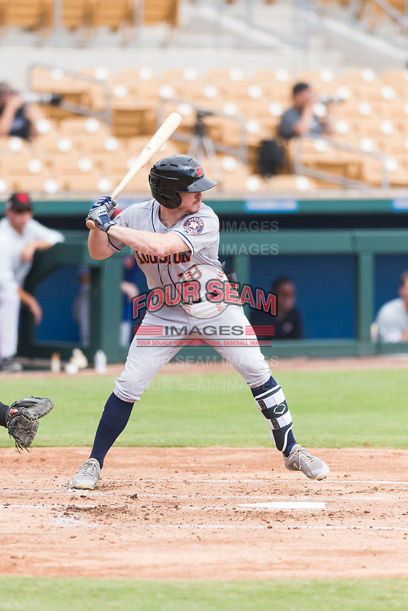 Scottsdale Scorpions center fielder Drew Ferguson (18), of the Houston Astros organization, at bat during an Arizona Fall League game against the Glendale Desert Dogs at Camelback Ranch on October 16, 2018 in Glendale, Arizona. Scottsdale defeated Glendale 6-1. (Zachary Lucy/Four Seam Images)