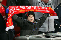 A young Liverpool fan during the Capital One Cup match between Liverpool and Manchester City at Wembley Stadium, London, England on 28 February 2016. Photo by David Horn / PRiME Media Images.