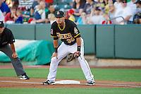Roberto Lopez (30) of the Salt Lake Bees on defense against the Nashville Sounds at Smith's Ballpark on June 23, 2014 in Salt Lake City, Utah.  (Stephen Smith/Four Seam Images)