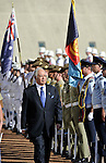 Malaysian Prime Minister Mohd Najib bin Tun Abdul Razak reviews the Federation Guard during a ceremonial welcome to Parliament House Canberra, Thursday, March 3, 2011. The Malaysian Prime Minister is on a three day visit to Australia. (AP Photo/Mark Graham)