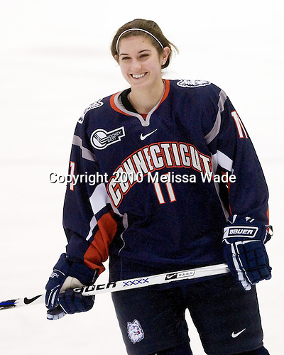 Jaclyn Camardo (UConn - 11) - The University of Connecticut Huskies defeated the Northeastern University Huskies 4-1 in Hockey East quarterfinal play on Saturday, February 27, 2010, at Matthews Arena in Boston, Massachusetts.