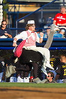 "The ""Crazy Hot Dog Vendor"" entertains fans between innings of the Eastern League game between the Akron Rubber Ducks and the Reading Fightin Phils at FirstEnergy Stadium on June 19, 2014 in Wappingers Falls, New York.  The Rubber Ducks defeated the Fightin Phils 3-2.  (Brian Westerholt/Four Seam Images)"