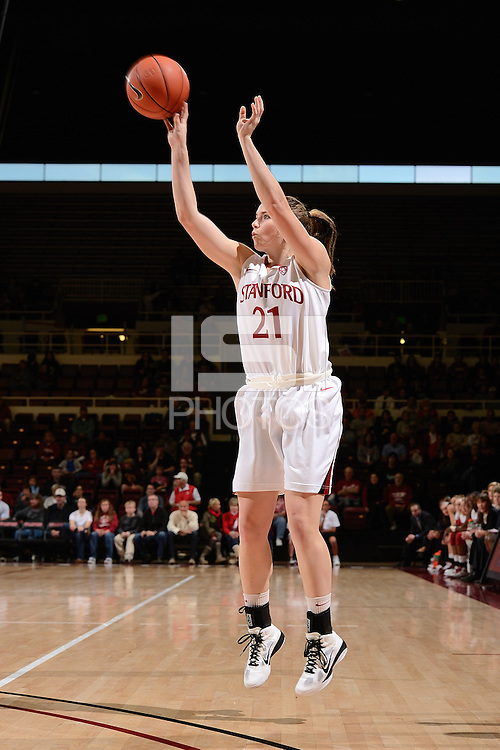 STANFORD, CA - NOVEMBER 26: Sara James of Stanford women's basketball shoots from beyond the 3-point line in a game against South Carolina on November 26, 2010 at Maples Pavilion in Stanford, California.  Stanford topped South Carolina, 70-32.