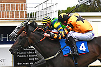 Winner of The St Christopher's Car Sales Bournemouth Supporting Gift Of Sight Handicap, Giving Back (far rail) ridden by David Probert and trained by Alan King during Evening Racing at Salisbury Racecourse on 3rd September 2019