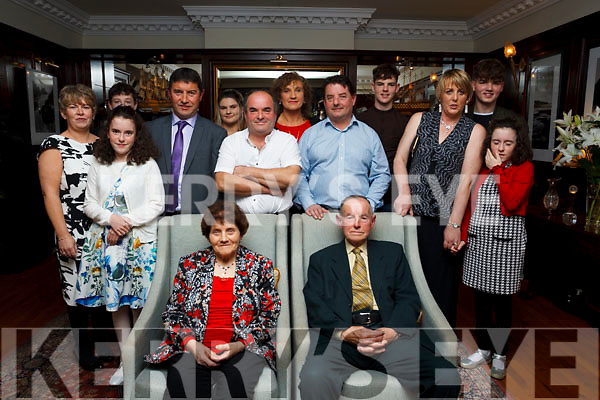 Helen and Coleman Cronin of Milltown, (Seated) celebrating their 50th wedding anniversary with their family at the Ballygarry House Hotel, Tralee on Saturday night last. Standing L to R: Pauline, Tessa, Jonathan, Liam, Leanne, Colm, Martina, Mike, CJ, Annette, Diane and Faye Cronin.