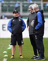 Bath Rugby first team coach Darren Edwards speaks with Directors of Rugby Todd Blackadder and Paul Gustard. Gallagher Premiership match, between Bath Rugby and Harlequins on March 2, 2019 at the Recreation Ground in Bath, England. Photo by: Patrick Khachfe / Onside Images