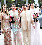 Jackie Chan with Laura Weissbecker, Zhang Lanxin, Yao Xingtong and Caitlin Dechelle attending the The 2012 Toronto International Film Festival Red Carpet Arrivals for 'A Conversation with Jackie Chan' at the Princess of Wales Theatre in Toronto on 9/9/2012
