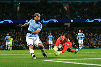 Dominik Livakovic of Dinamo Zagreb saves from Sergio Aguero of Manchester City during the UEFA Champions League Group C match between Manchester City and Dinamo Zagreb at the Etihad Stadium on October 1st 2019 in Manchester, England. (Photo by Daniel Chesterton/phcimages.com)<br /> Foto PHC/Insidefoto <br /> ITALY ONLY