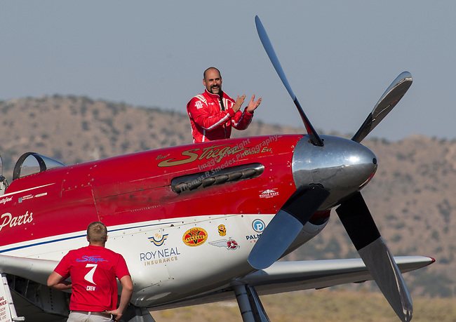James Conslvi from Lakewood,CO won the Unlimited Gold Championship in hisP-51 Strega during the National Championship Air Races in Reno, Nevada on Sunday, Sept. 17, 2017.